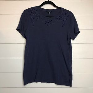Lucky Brand Blue Embroidered Laser Cut Tee M